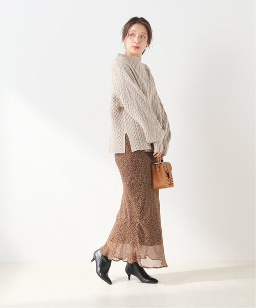 IENA] 【JEFF】 SIRENE プリントロングスカート【手洗い可】