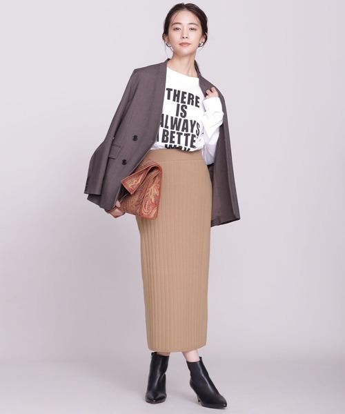 針抜きリブニットタイトスカート