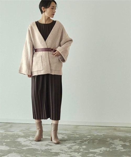 ウール混デザインラインワイドニットコート