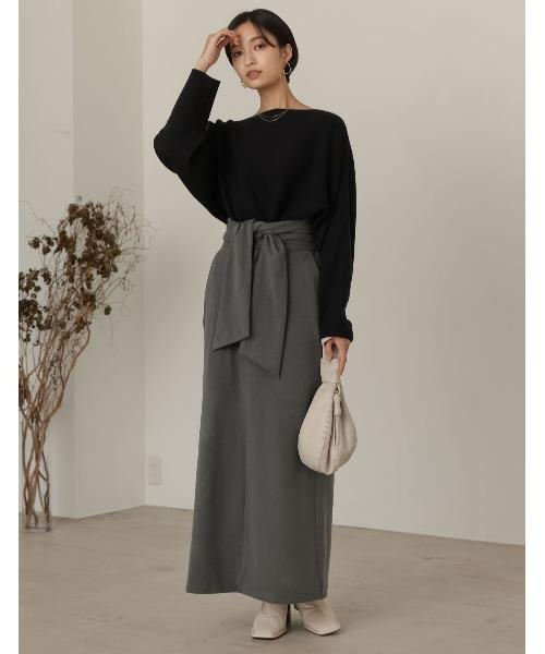 [Re:EDIT] [低身長向け/高身長向けサイズ対応]マシュマロカットウエストリボンタイトスカート7