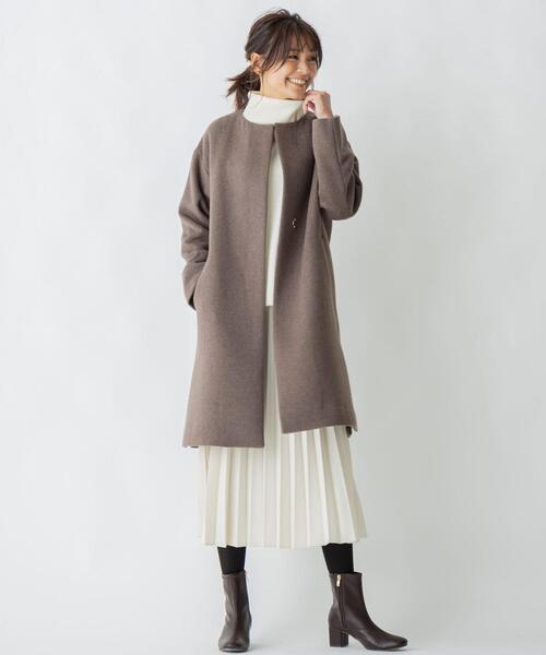 [L size ONWARD(大きいサイズ)] カシミヤブレンドノーカラー コート18