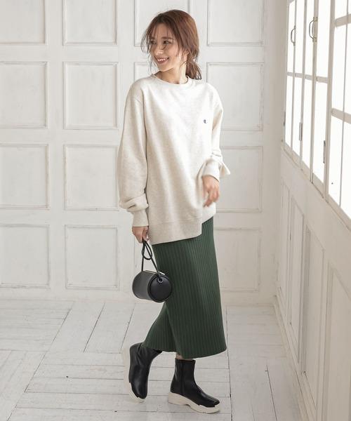 [kobelettuce] 裾スリットリブニットタイトスカート