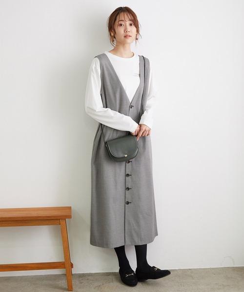 [ROPE' PICNIC] 【前後2WAY】釦ジャンパースカート