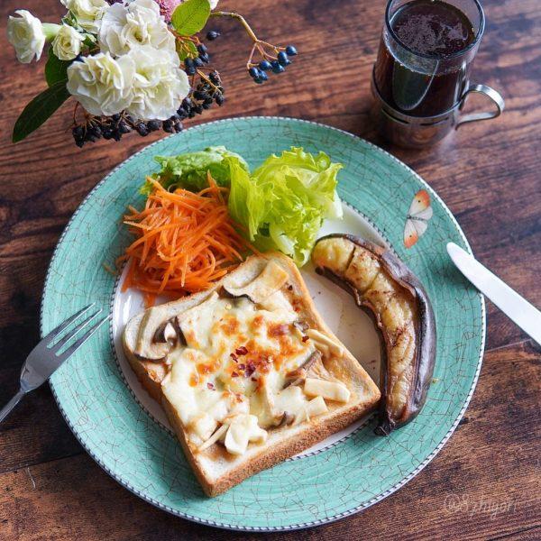 エリンギの味噌バターチーズトーストでワンプレート