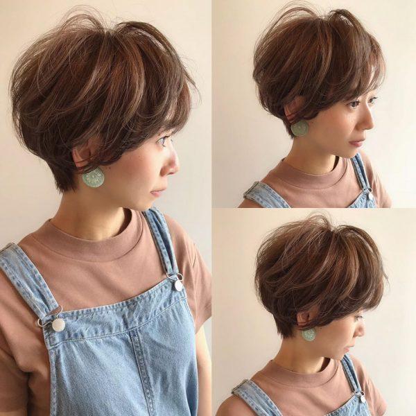 丸顔に似合うハンサムショートヘア9