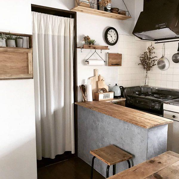 キッチン目隠しカーテンアイデア 入り口