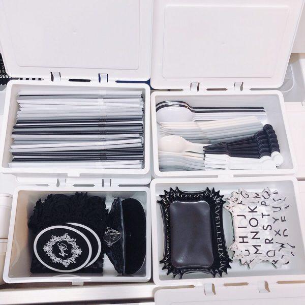100均の蓋付きボックスでキッチン雑貨収納