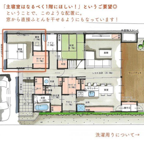 将来は1階だけも生活できる!主寝室が1階のほぼ平屋間取り。2