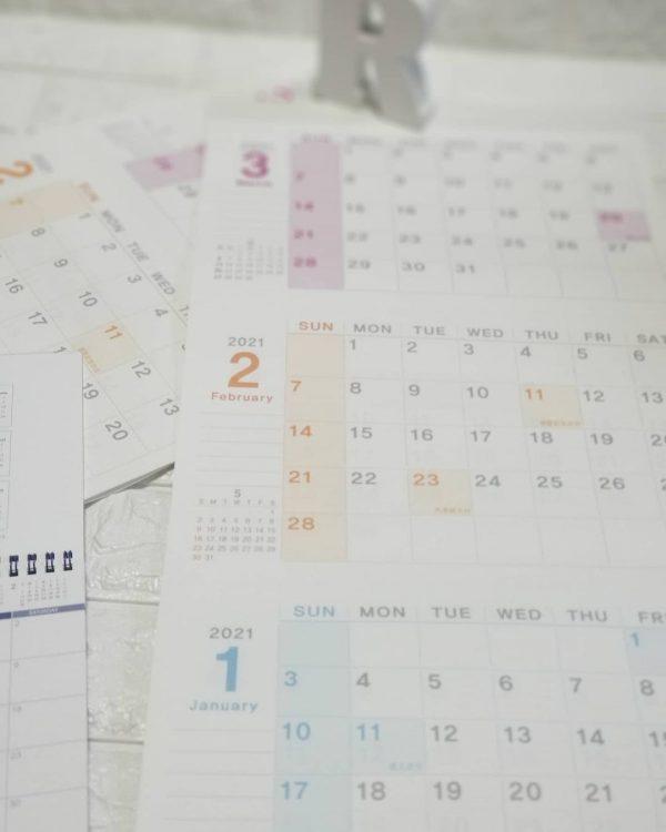 3ヶ月表記のダイソーカレンダー