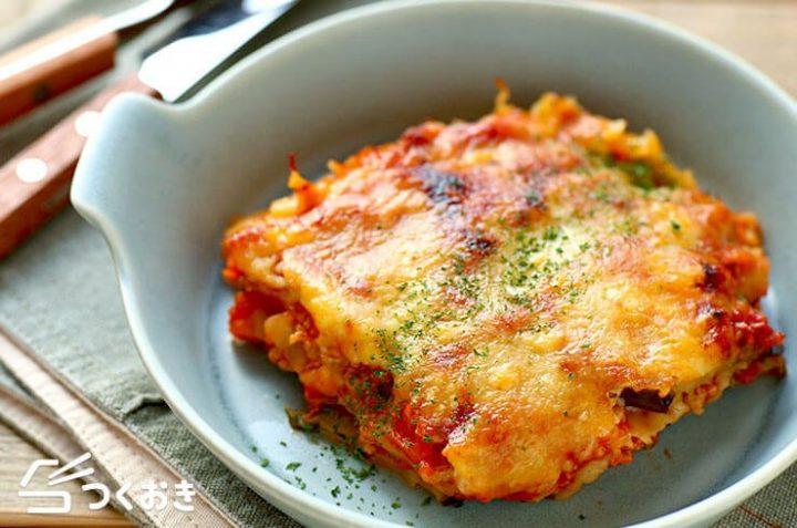 温かい料理♪なすとトマトのラザニア風