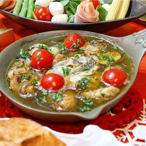 牡蠣のブラウンマッシュルームのアヒージョ