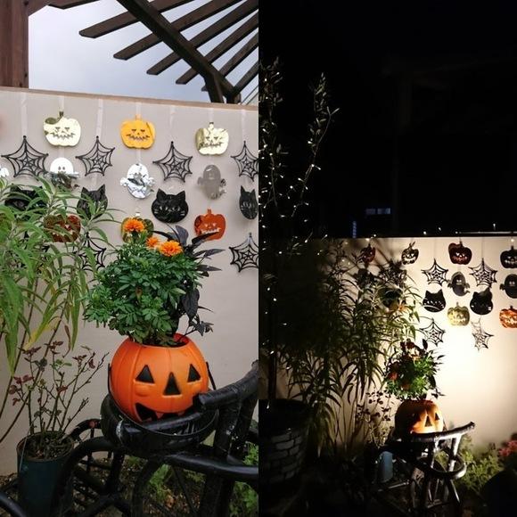 100均ハロウィンバケツでお庭を飾り付け