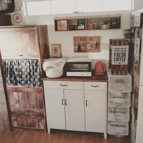 キッチン目隠しカーテンアイデア《収納棚》2