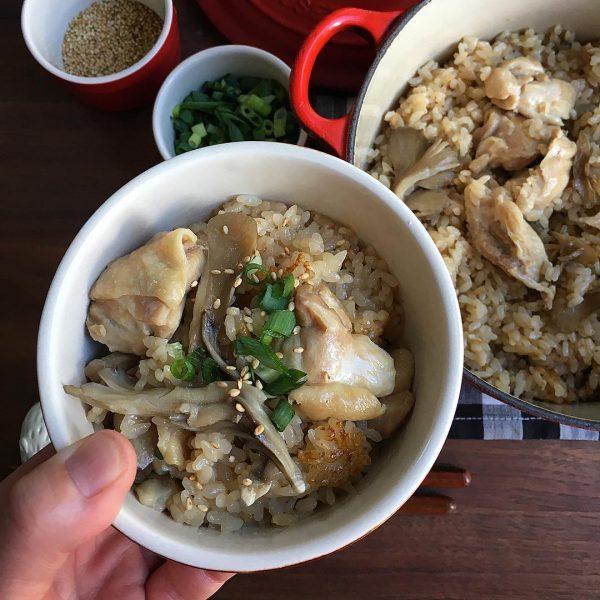 鶏肉と舞茸のオイスター炊き込みご飯