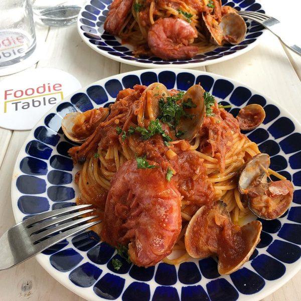 海老とあさりのトマトソースパスタ