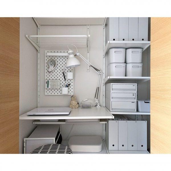 IKEA可動棚で文具の壁面収納