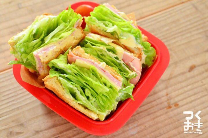 レタスとハムのサンドイッチ