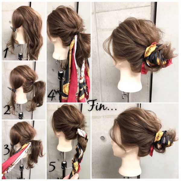 40代女性×スカーフまとめ髪アレンジ