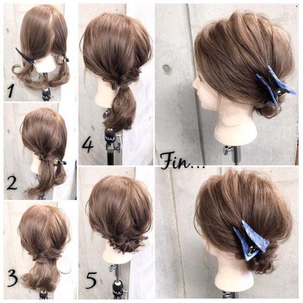 お団子を使ったミディアムのきっちりまとめ髪
