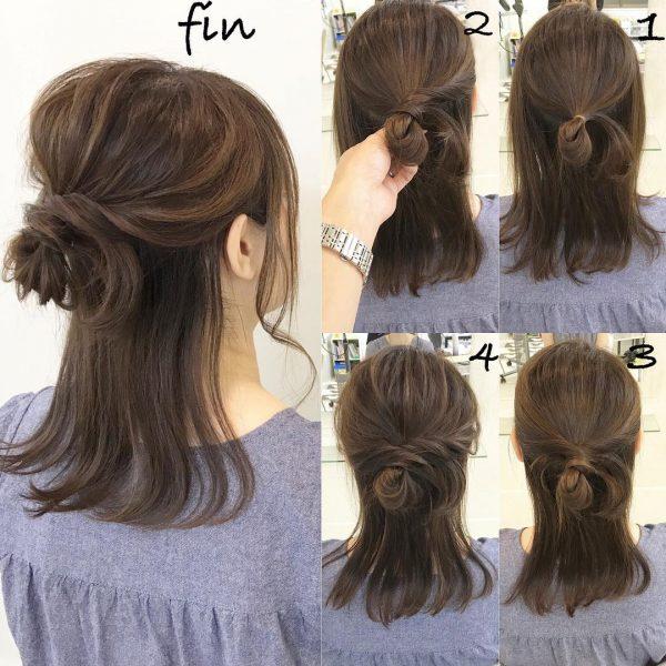 ハーフアップで叶うミディアムのきっちりまとめ髪