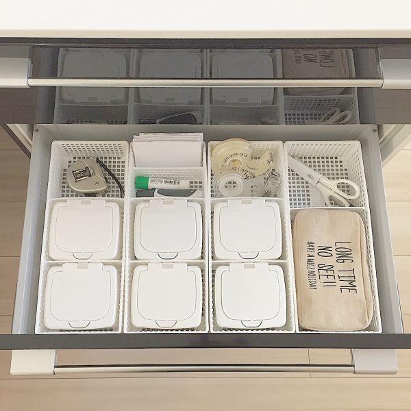 100均の蓋付きボックスで文房具収納