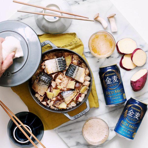 秋鯖ときのことさつまいもの炊き込みご飯