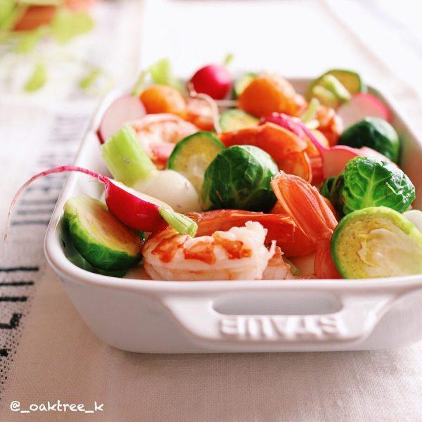可愛い野菜と海老のマリネ