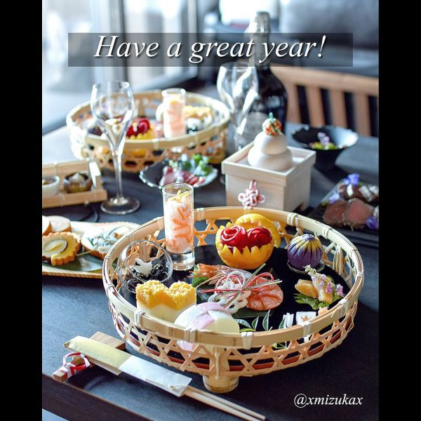 竹籠を使ったお正月テーブルコーディネート