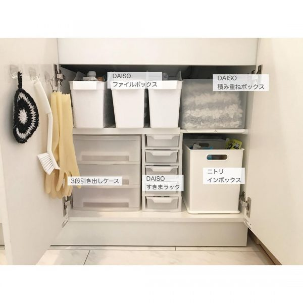 洗面台下収納のファイルボックス活用術
