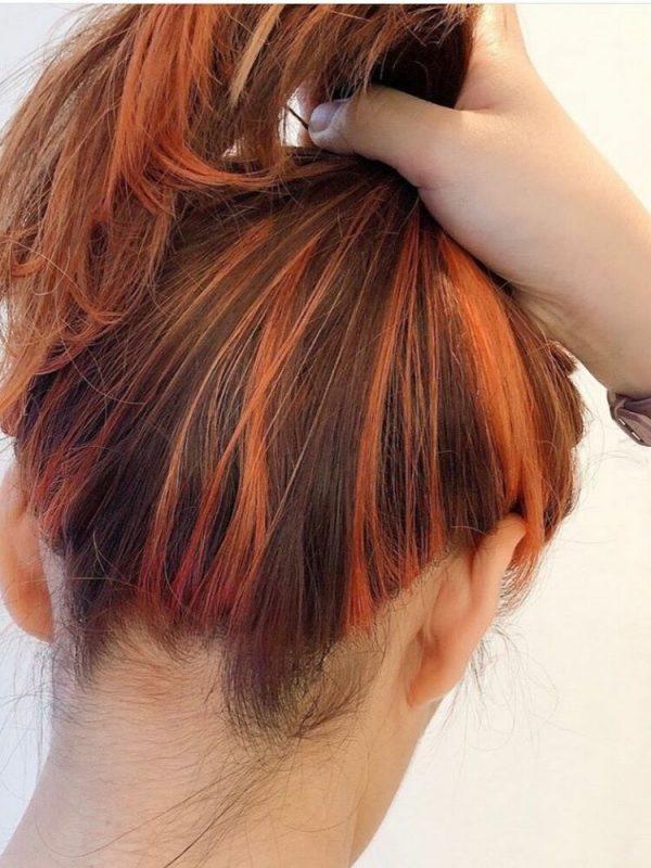 オレンジブラウンヘアカラー インナーカラー3