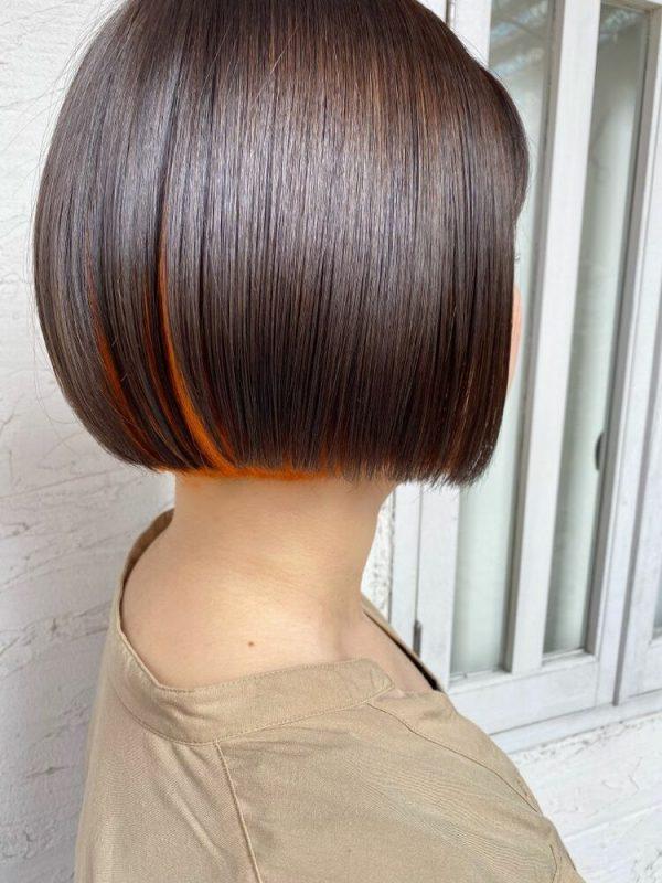 オレンジブラウンヘアカラー インナーカラー2