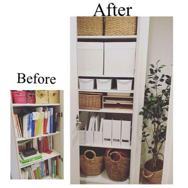 棚を設置した書類の収納アイデア