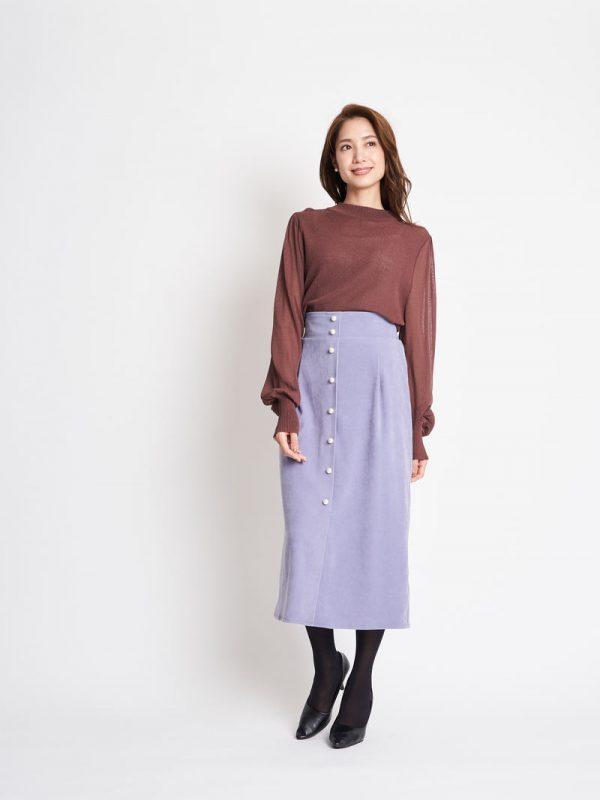 シアーボリューム袖ニット×ナロースカート