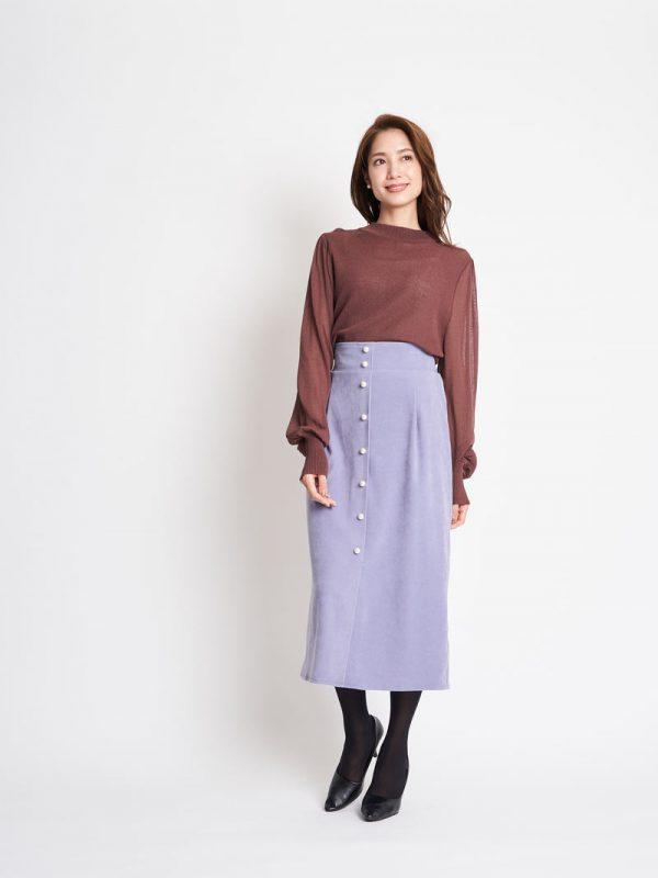 30代の冬のカラースカートコーデ