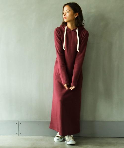 [Fashion Letter] 裏起毛ワンピース ルームウェア レディース ワンマイルウェア 大きいサイズ