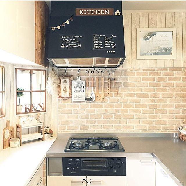 キッチンパネルのリメイクにレンガ柄を活用