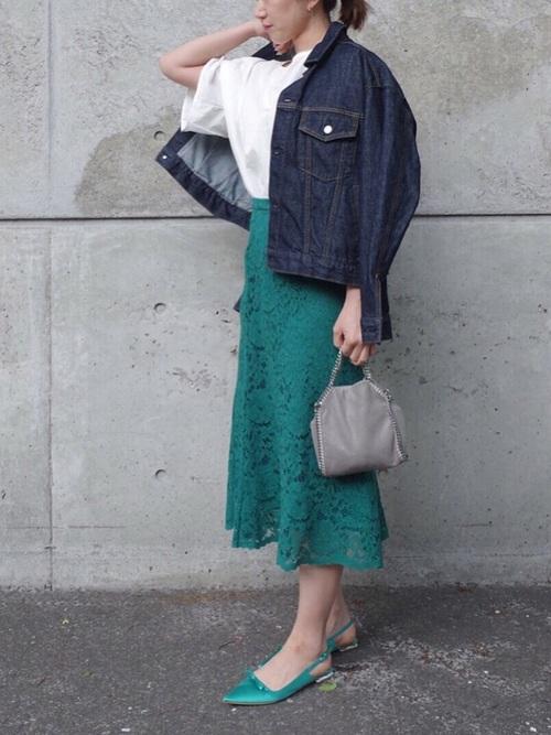 紺Gジャン×ユニクロ緑レーススカート