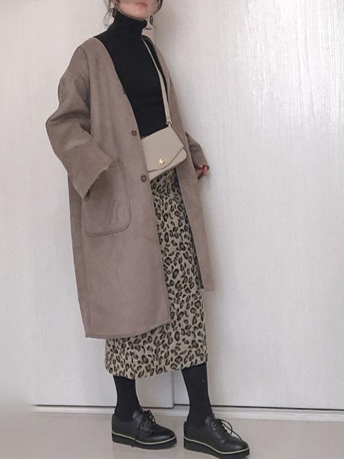 コート×レオパード柄ロングスカート