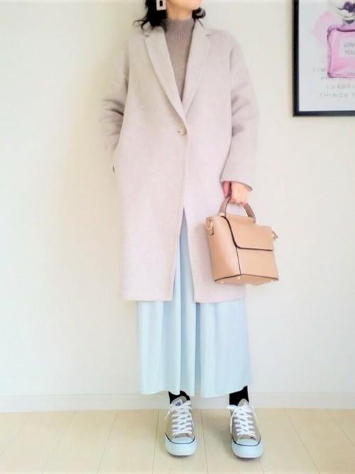 ユニクロコクーンコート×フレアスカート