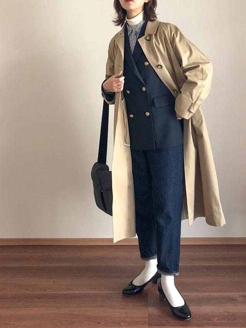 ネイビージャケット×ロールアップデニム