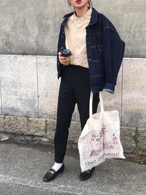 ユニクロシャツ×デニムジャケット