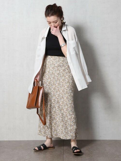はおりシャツ×マーメイドスカート