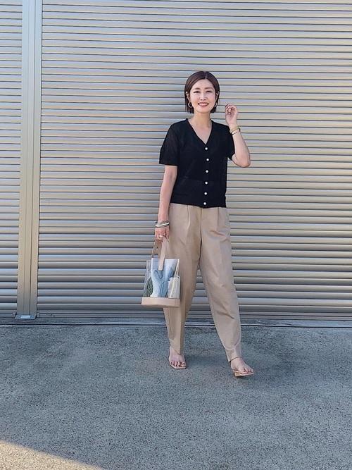 [Rose Tiara] 麻混リブリラックステーパードパンツ【セットアップ可】
