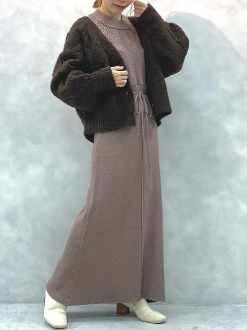 natural couture いろいろ編み地重ね着風ニットワンピース