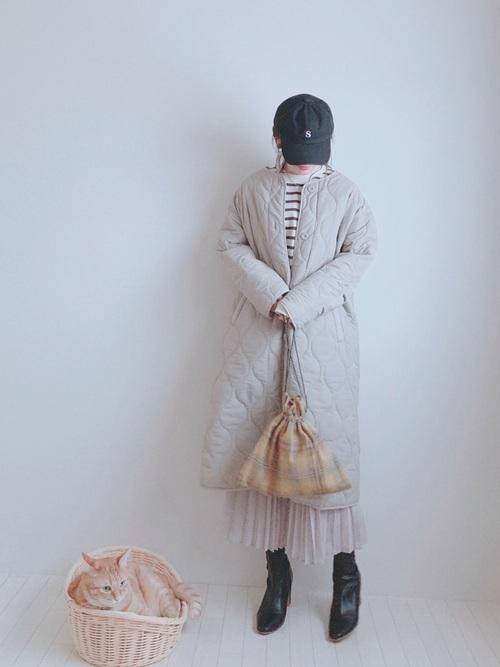 しまむらキルティングコート×プリーツスカート