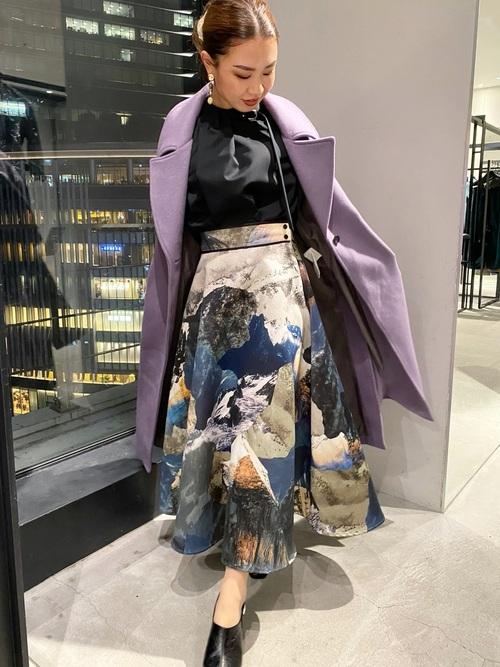 [UNITED TOKYO] ランドスケープ柄フレアスカート