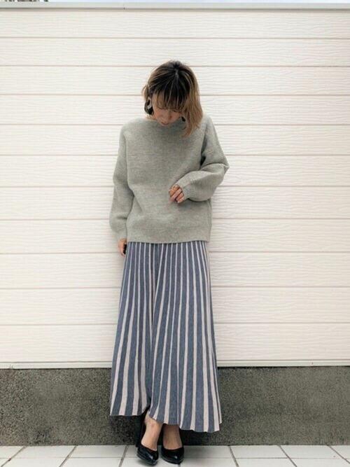 [Q] ストライプニットスカート