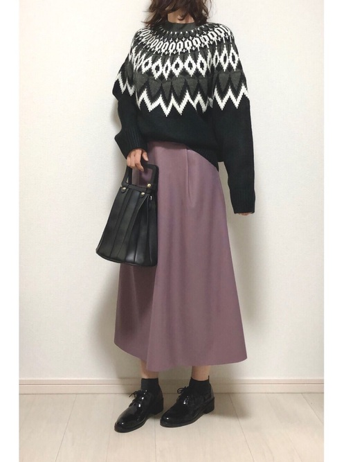 GUフェイクレザースカート