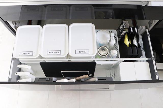 消耗品をまとめたキッチン
