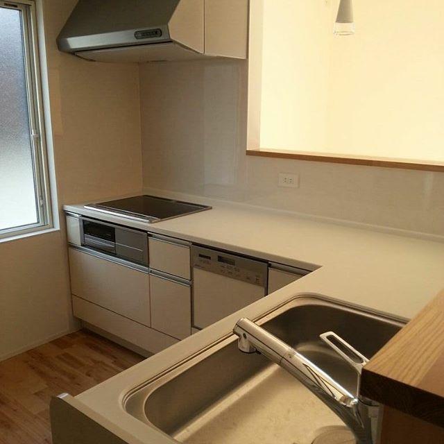 L型キッチンの2面が対面カウンター